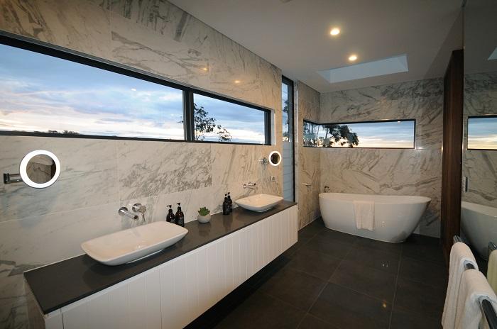 quartz vanity countertop in Smartstone Marengo