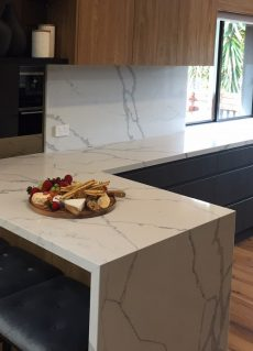 quartz kitchen benchtop in Smartstone Statuario Venato