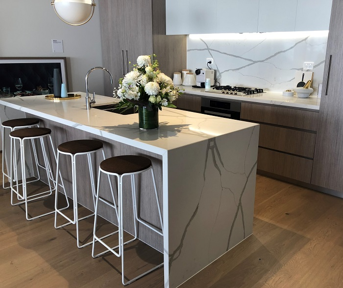 kitchen benchtop in Calacatta Blanco by Smartstone