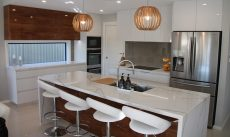 Kitchen island in Smartstone Calacatta Blanco