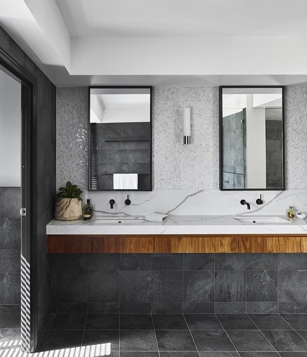 bathroom vanity in Smartstone Calacatta Blanco