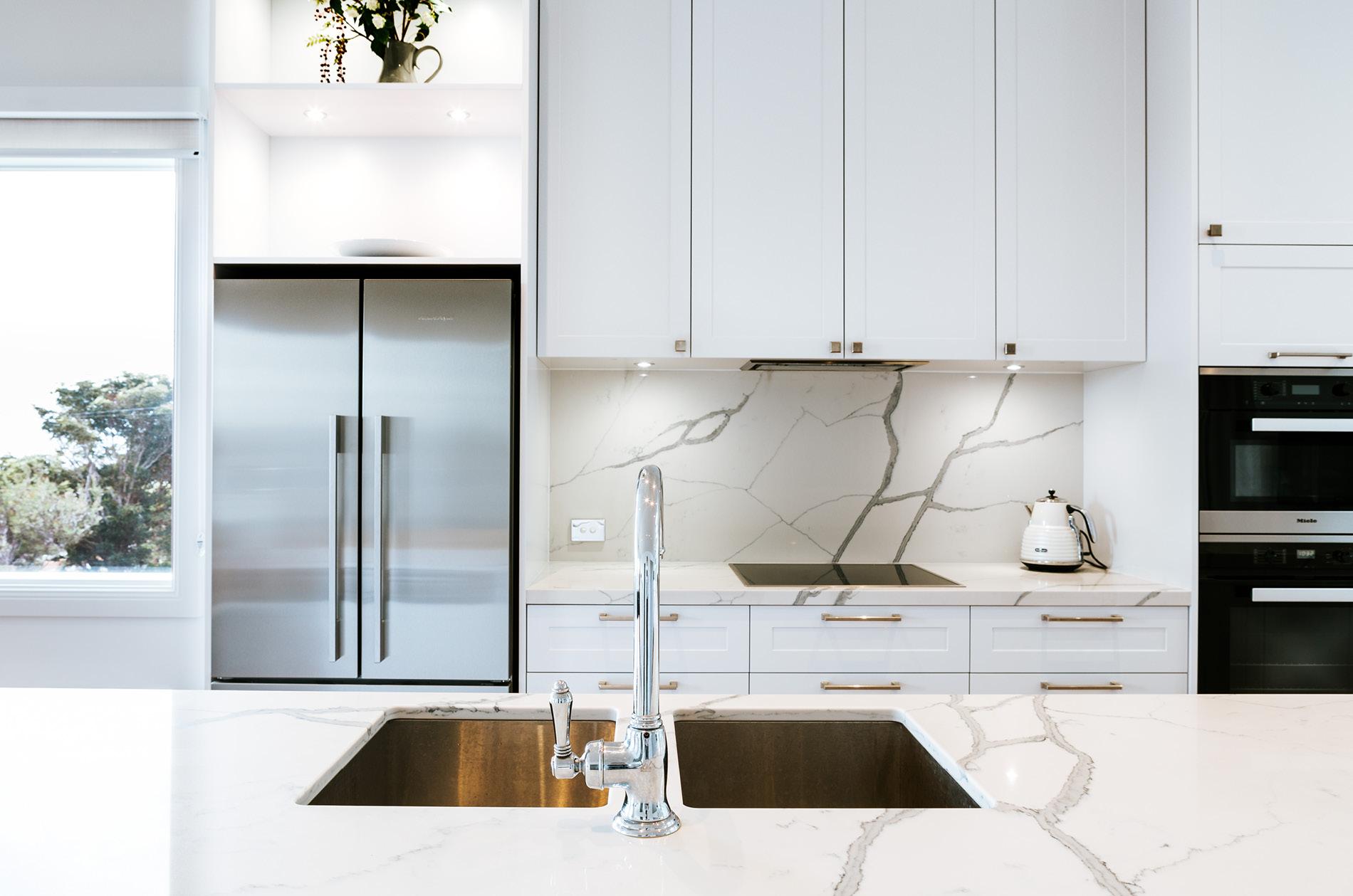 French Provincial Design Perfectly Blends In Statuario Venato Kitchen Bench