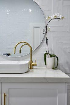 bathroom vanity with Smartstone Carrara